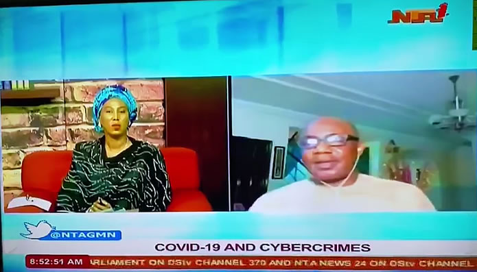 Dr. Bayero Agabi speaks on Covid-19 and Cyber Crimes on NTA live broadcast